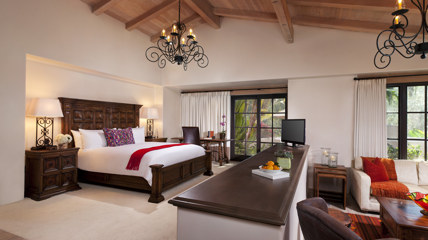 Spacious Eucalyptus King ADA bedroom suite with separate sitting area, french doors, chandeliers