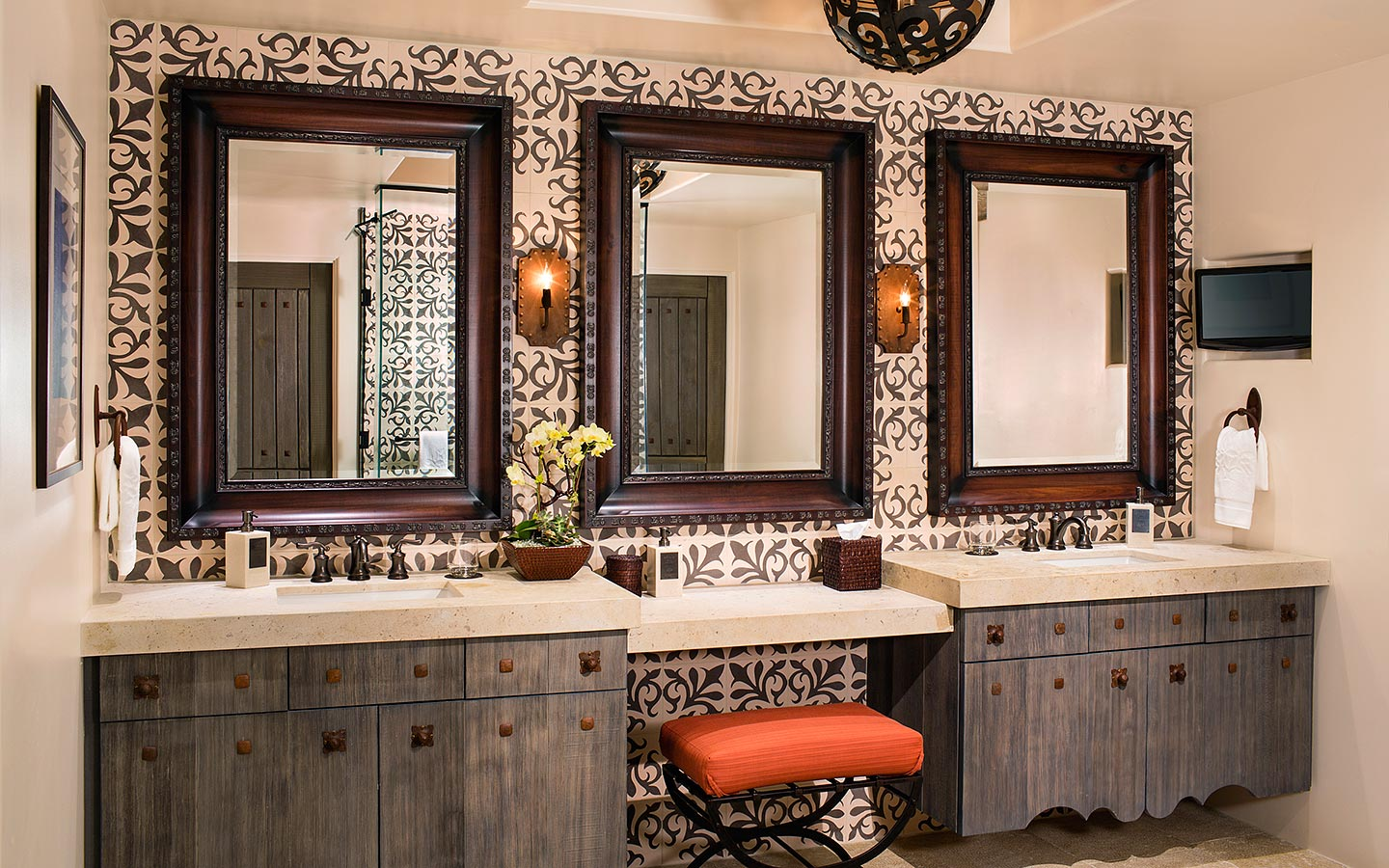 San Diego luxury hotel bathroom with beautiful spanish tile and his and hers vanity