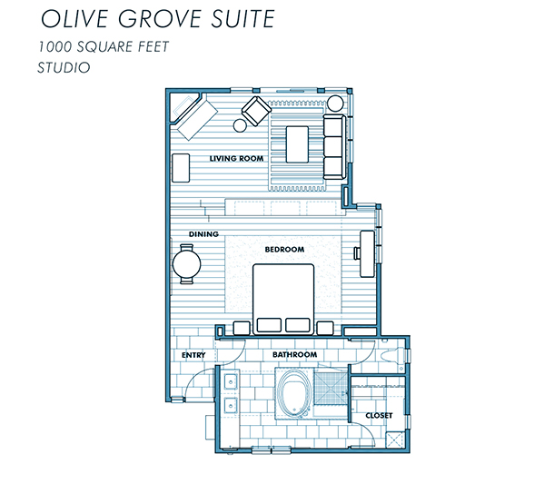 Rancho Valencia Olive Grove hotel suite floor plan at resort in San Diego