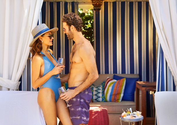 couple lounging in their cabana